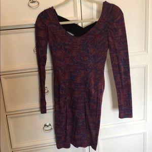 Maroon body con long sleeve dress